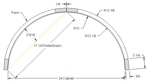 """Porte courbe Rayon 12"""" (2portes)"""