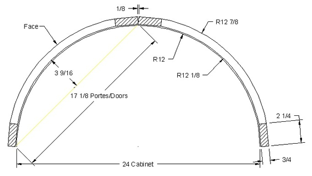 "Radius door for island cabinet Radius 12"" Total width 25 5/8"" corner 12"" x 12"" (stiles 2 7/8"")"