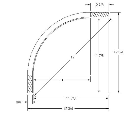 "Radius door for corner 12"" x 12"" (stiles 2 7/8"")"