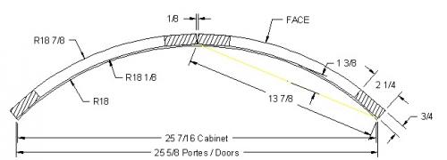 """Radius door for corner 18 7/8"""" x 18 7/8"""""""