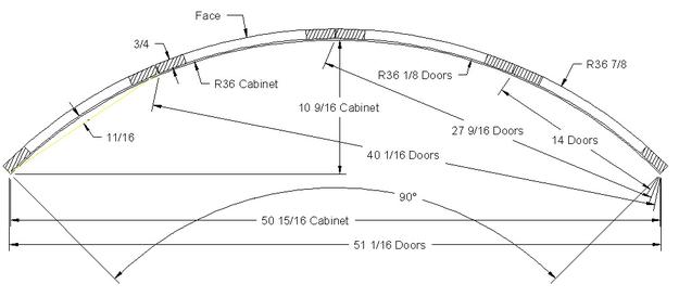 """Radius door for corner 36 7/8"""" x 36 7/8"""""""