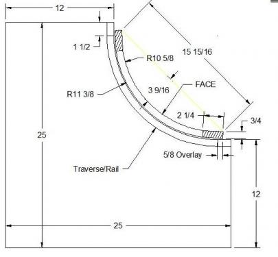 """Portes courbes concaves pour coin interieur (montants 2 1/4"""")"""
