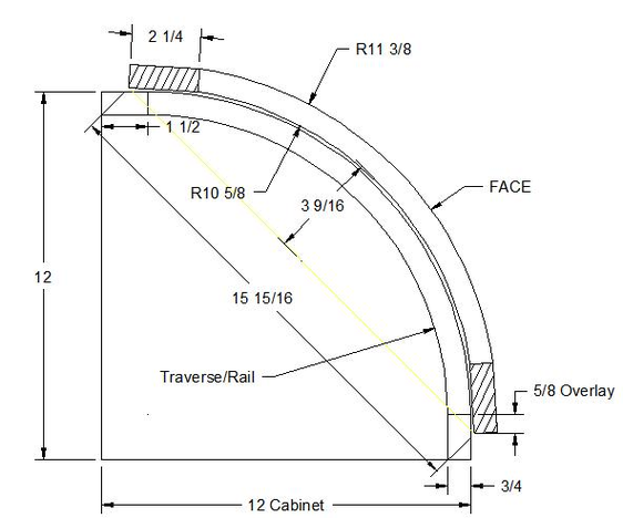 """Convex curved or round door overlay for corner cabinet 12"""" x 12"""""""