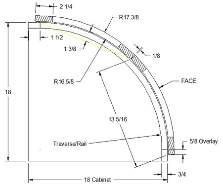 """Convex curved doors applied on a curved fac-frame of a 18"""" corner cabineter c"""