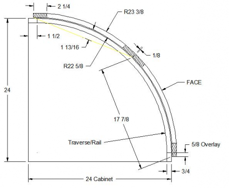 """Convex curved doors applied on a curved face-frame of a 24"""" corner cabinet"""