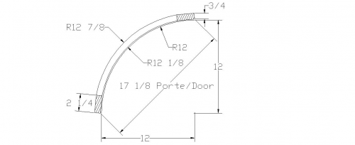 "Convex curved or round door READY-TO-GO 12"" radius"