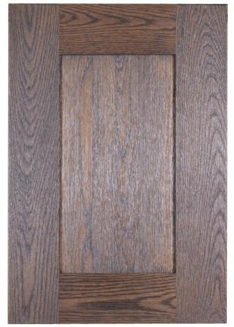 Boreal textured cabinet door in red Oak